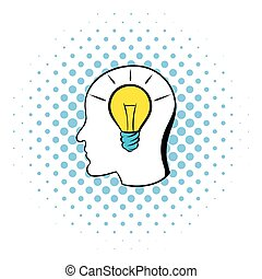 Head with light bulb icon, comics style