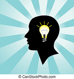 Silhouette of a human head with a burning light bulb, representing a person who has an idea
