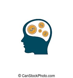head with money thinking vector illustration design