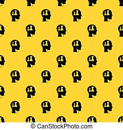 Head with queen and pawn chess pattern vector
