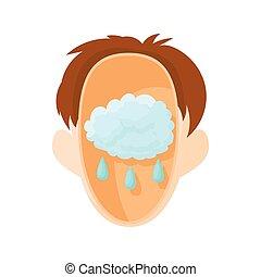 Head with rain cloud icon, cartoon style