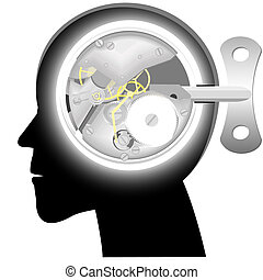 Head with the mechanism of hours instead of a brain with a...