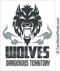Head Wolf - North American ornamental style. Mascot emblem...
