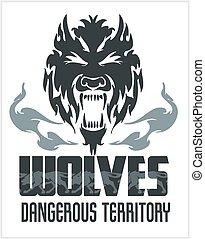 Head Wolf - North American ornamental style. Mascot emblem...