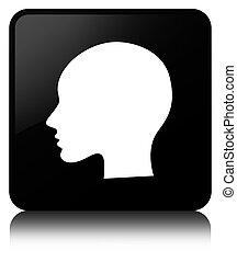 Head woman face icon black square button