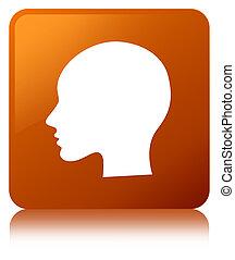 Head woman face icon brown square button