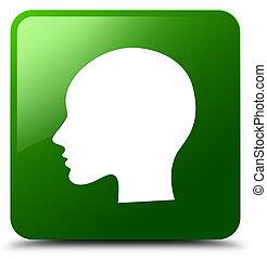 Head woman face icon green square button