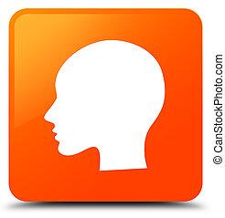 Head woman face icon orange square button