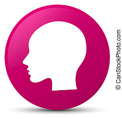Head woman face icon pink round button