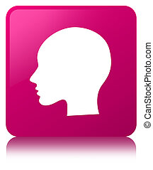 Head woman face icon pink square button