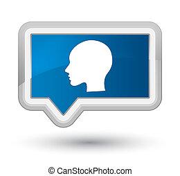 Head woman face icon prime blue banner button