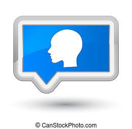 Head woman face icon prime cyan blue banner button