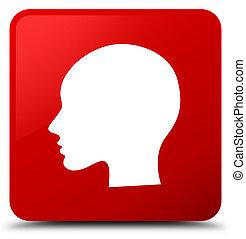 Head woman face icon red square button