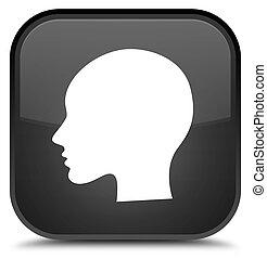 Head woman face icon special black square button