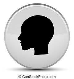 Head woman face icon special white round button
