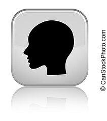 Head woman face icon special white square button