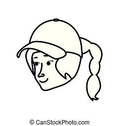 head woman with sport cap