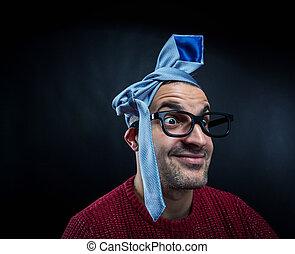 head., zijn, brillen, man, vastknopen