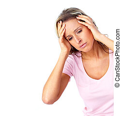 headache., γυναίκα , νέος , έχει