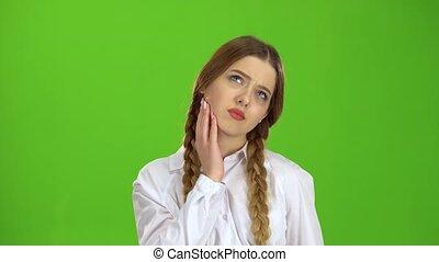 headache., a, vert, écran, girl