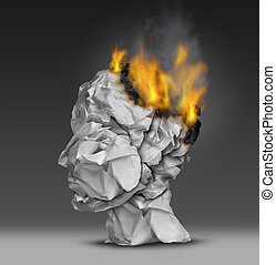 Headache and mental illness concept as a group of crumpled...