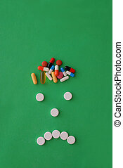 headache caricature with pills