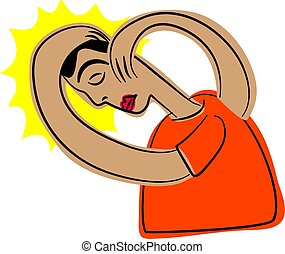headache - man holding his head in pain and distress