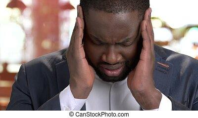 headache., déprimé, haut, souffrance, fin, homme affaires