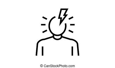 headache disease symptom animated black icon. headache disease symptom sign. isolated on white background