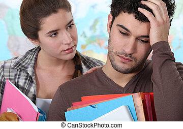 headache., elle, who's, haut, acclamation, girl, essayer, avoir, petit ami