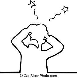 Headache - Man having a serious headache and screaming in...