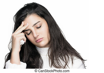 headache., femme, allergie, grippe, jeune, malade, ou