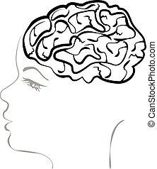 headache., fogalom, koponya, agyonüt, nő, nyílik