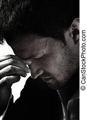 headache., hat, junger mann, intensiv