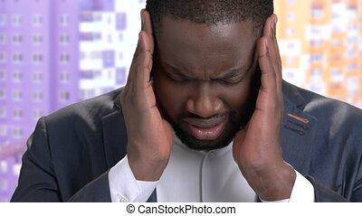 headache., haut, souffrance, noir, homme affaires, fin