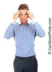 headache., homem, stress., negócio, tendo