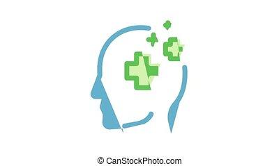 Headache Elements Icon Animation Tension And Cluster Headache, Migraine And Brain Symptom Concept Pictograms. Head Healthcare