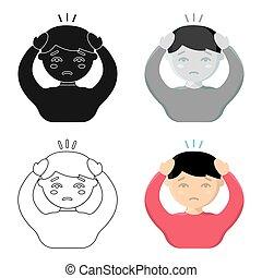 Headache icon cartoon. Single sick icon from the big ill, disease cartoon.
