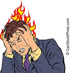 headache man. heat and temperature. Pop art retro vector ...