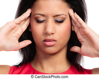 Headache, migraine and sinus ache. Stressed young woman...