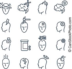 Headache, migraine pain treatment medical line vector icons