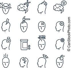 Headache, migraine pain treatment medical line vector icons