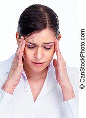 headache., mujer, teniendo, stress.