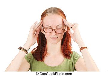 headache., mulher, jovem, tendo