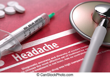 Headache - Printed Diagnosis on Red Background.