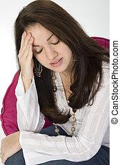 Headache Sad Pain - Beautiful young woman sad or with...