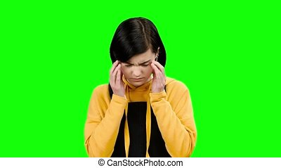 headache., souffre, vert, écran, adolescent