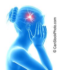 headache - illustration of a woman having a megrim