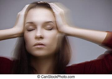 Headache - Suffering from headache - concept. Motion effect