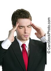 headache stress businessman hands on head